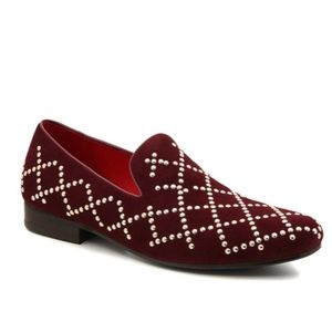 SALE Carrucci Red Suede & Gold Studded Loafers